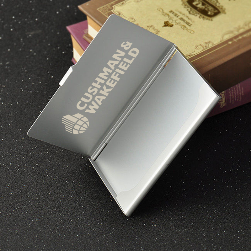 Logotipo personalizado grabado láser Metal aluminio tarjeta de visita Funda personalizada tarjetero bolsillo cartera ID tarjeta caja 50 piezas-in Obsequios para fiestas from Hogar y Mascotas    3