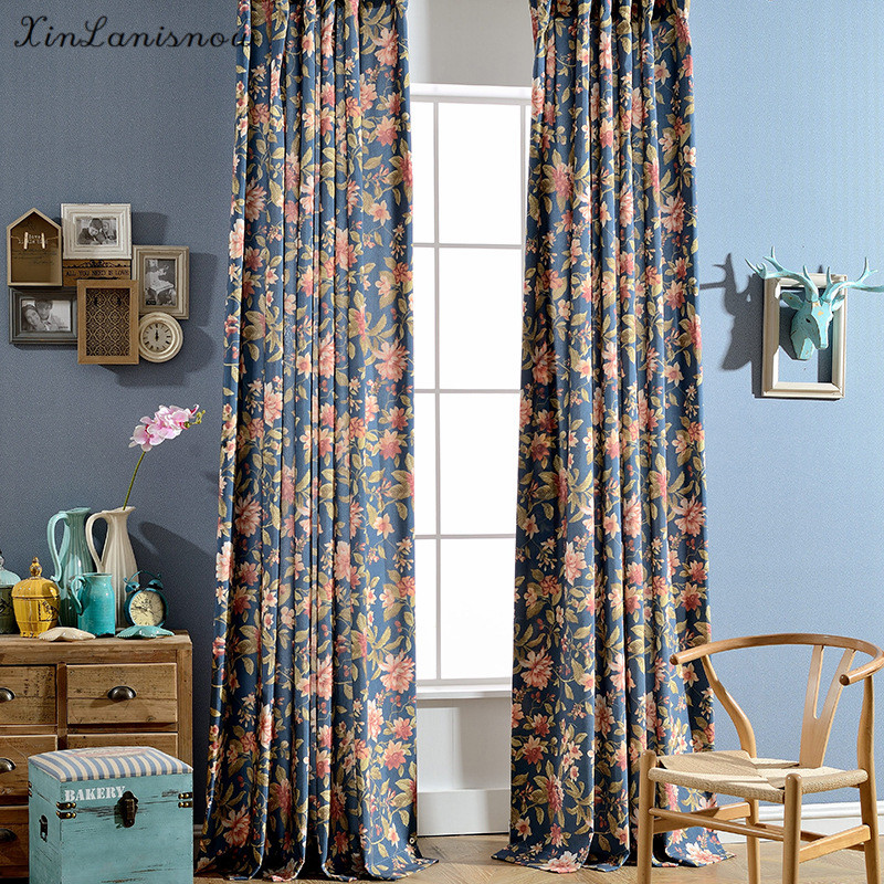 Noble Modern Flower Contracted Terylene Printed Curtains for Living Dining Room Bedroom