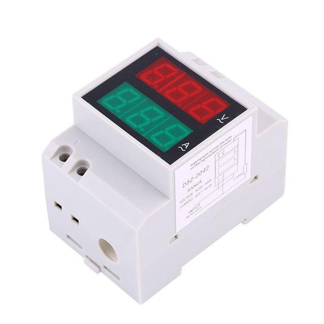 2 In 1 AC0.2-99.9A Power Meter D52-2042 0-100A Dual Display Rail Digital AC Voltage Current Ammeter Voltmete