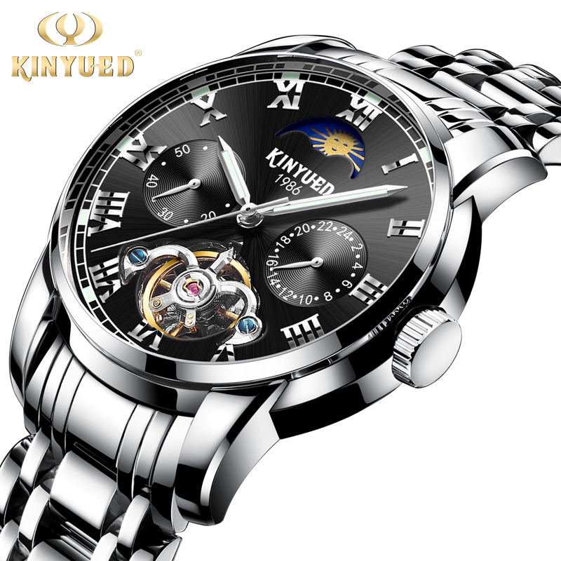 KINYUED Automatic Mechanical Mens Watches Top Brand Luxury Business Tourbillon Watch Men Calendar Full Steel erkek kol saati mg orkina full calendar tourbillon auto mechanical mens watches top brand luxury wrist watch erkek kol saati montre homme
