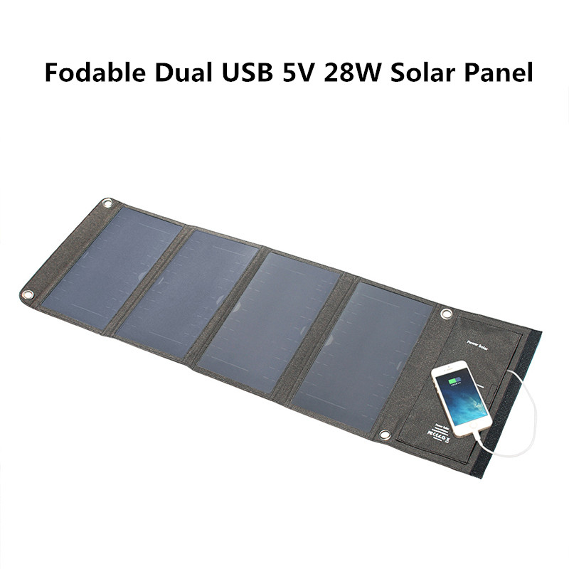 Gray Dual USB 5V 28W Solar Panel For Mobile Phone Tablet PC Foldable Solar Battery Portable