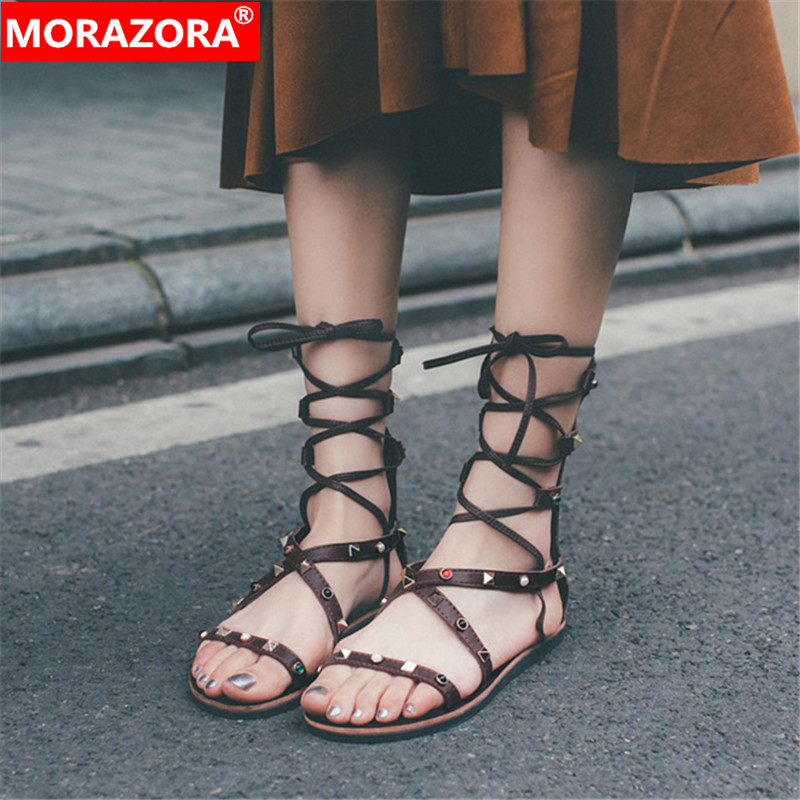 Apricot Kuh Spitze Frau Sandalen Morazora Niet Schuhe Top Casual 2019 Zip Up Bequem Frauen Flache maroon Leder Qualität Mode tqw8Tqa