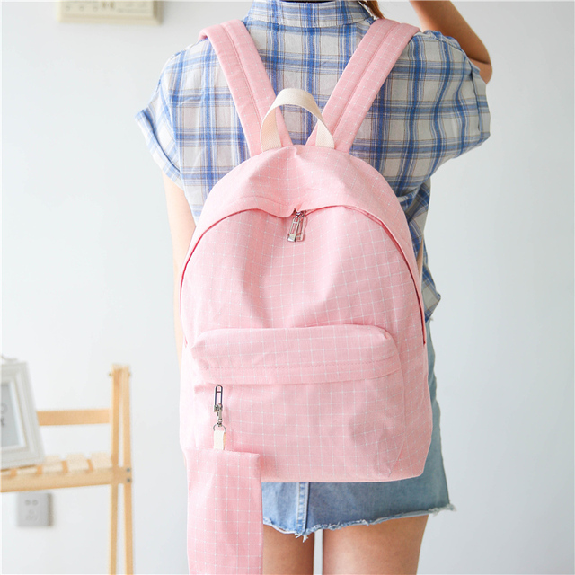 New Simple Korean Style Candy Color Canvas Women Backpack Kids College Student High School Book Bags