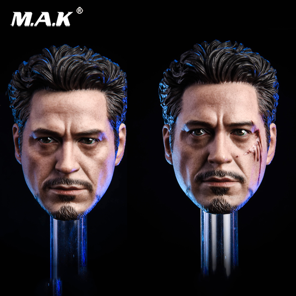 MK5 2.0 Tony Headplay 1/6 Scale Avengers Iron Man Tony Head sculpt Racing suit Head Carving Model Fit 12
