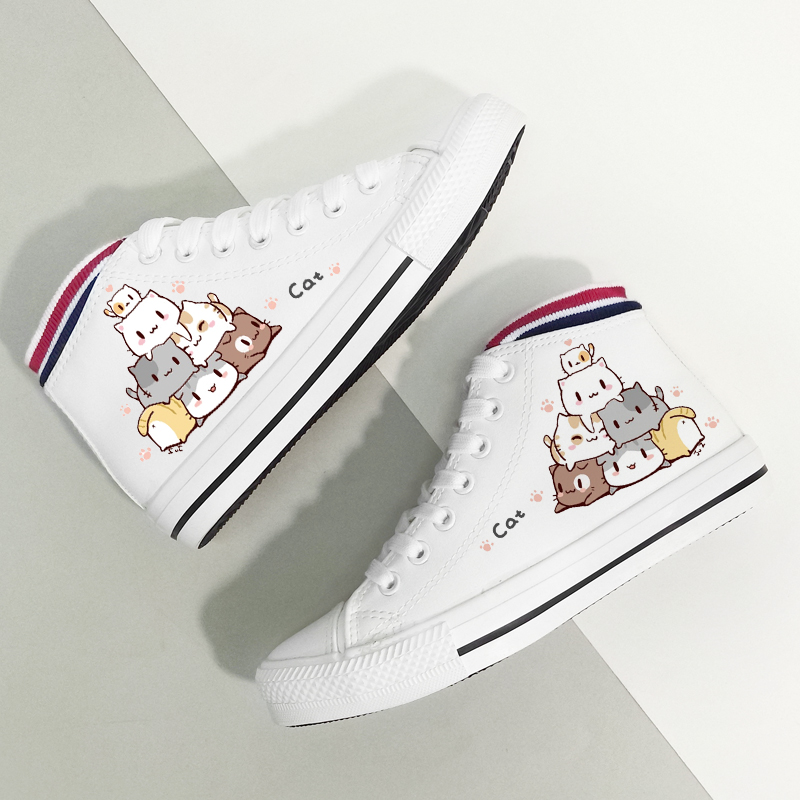 Skatebarding Shoes High Quality Vulcanized Shoes Causal Soft Shoes Women Flat Sole Shoes Chaussure Femme White Canvas High Shoes