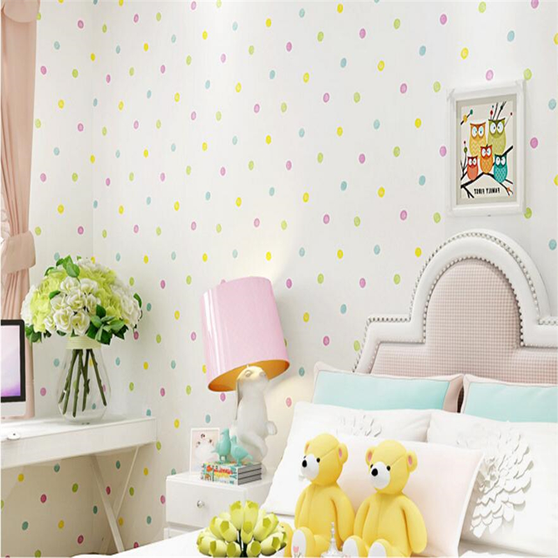 beibehang Green non-woven wallpaper children's room girl boy bedroom wallpaper warm cartoon little colorful dot papel de parede beibehang environmental non woven boy girl warm cartoon children s room blue sky clouds balloon wallpaper