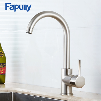 Fapully Kitchen Faucet Brass Burshed Nickel Black 360 Degree Rotating Water Faucet Deck Mounted Kitchen Water Taps 100059B donyummyjo best quality wholesale and retail kitchen sink black water faucet 360 degree rotating deck mounted kitchen mixer taps