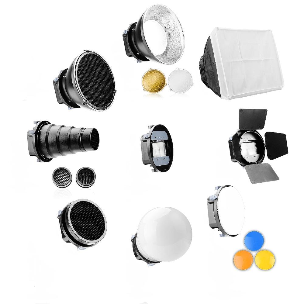Universal Speedlite Flash Accessories Kit Adapter Mount+Barndoors+Snoot Standard Reflector+Diffuser Ball for DSLR
