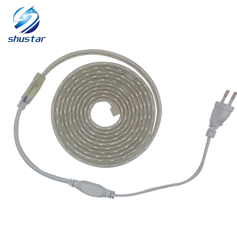 SMD 5050 AC220V LED Strip Flexible Light 60leds/m Waterproof Led Tape LED Light With Power Plug 1M/2M/3M/5M/6M/8M/9M/10M/15M/20M 20m waterproof rgb 5050 smd 60 leds m led tape lighting flexible tape rope strip light xmas party garden outdoor decor 220v
