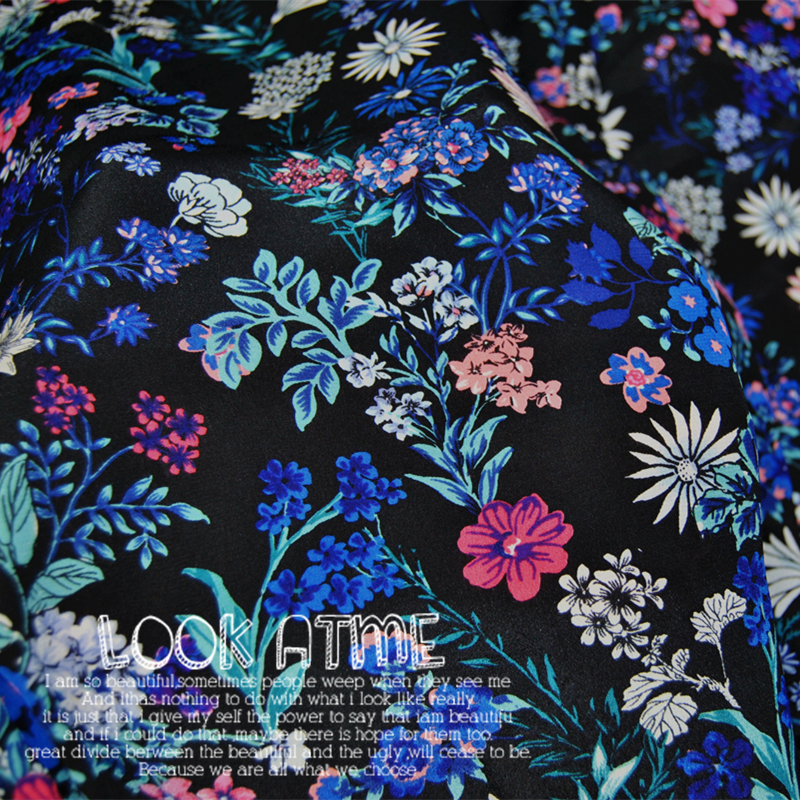 LEO&LIN Floral black 100% silk crepe de chine dress shirt thin spring and summer dress fabric (1 meter)
