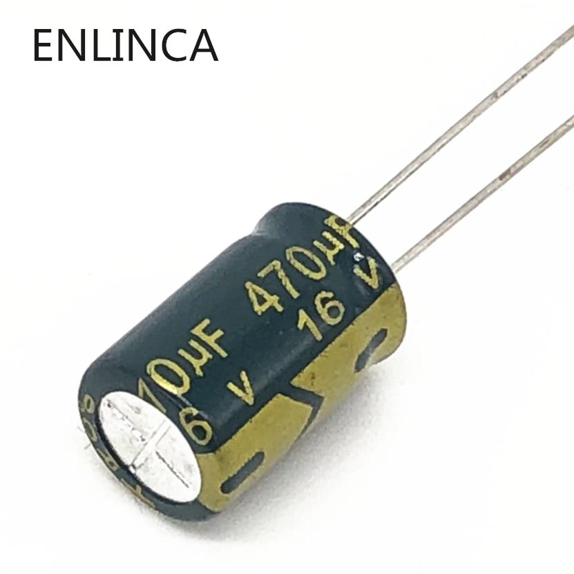 Высокочастотный алюминиевый электролитический конденсатор P65 470uf16V с низким ESR/сопротивлением, Размер 8*12 16V 470 мкФ 20%, 20 шт./лот