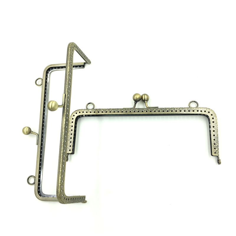 10Pcs Bronze Tone Metal Rectangle Frame Kiss Clasps Fermoir Clips Handbag Handle Clutch Findings 18x8 5cm in Bag Parts Accessories from Luggage Bags