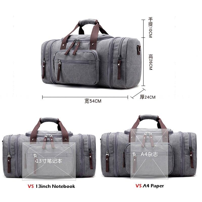Bolsa de deporte de viaje para hombre de gran capacidad para llevar equipaje de mano, bolsas de lona de viaje, bolsas de viaje, bolsas de gimnasio de fin de semana grandes para hombres - 3