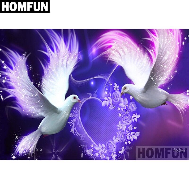 """HOMFUN Voll Platz/Runde Bohrer 5D DIY Diamant Malerei """"Dove liebe"""" Stickerei Kreuz Stich 5D Wohnkultur geschenk A00494"""