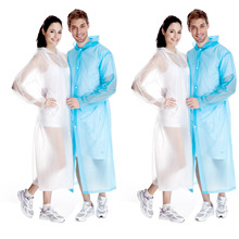 Behogar 2pcs Portable Unisex Long Style Raincoat Waterproof Frosted Translucent PVC Hooded Rain Coat Poncho Rainwear