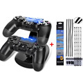 PS4 Controller LED Charger Dock Station Dual USB Charging Stand+DIY Dust Proof Prevent Mesh Jack Stopper For Playstation 4 PS4