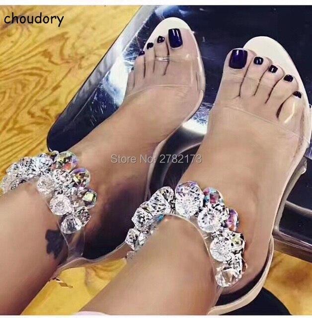 Dernière Conception Strass PVC Transparent Stiletto Sandales Chaussures  Cristal Cheville Wrap Lady Talons hauts Chaussures En
