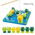 Nova Pegar Rãs Peixe Magnético Fun Sports Autênticos Brinquedos De Pesca De Madeira Brinquedo Educativo Adorável Jogo de Pai-Filho