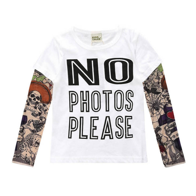 Clothes Long Sleeve Tattoo Funny Patch Letter Solid Tee Kids Tshirts Boys Shirts Tops Children Cotton Spring Fall Gifts For Boys