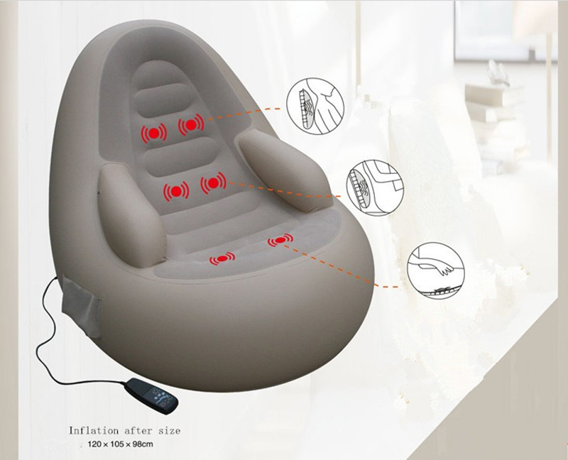 Multifunctional flocking inflatable sofa massage chair Eliminate fatigue Give Electric charge Pump neck pillow footrest
