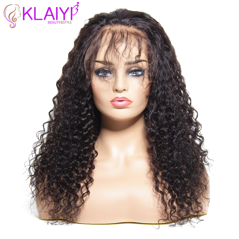 Klaiyi Hair Wig Series Brizilian Curly Wave Remy Hair Wig 10 24 Inch Front Lace Wigs