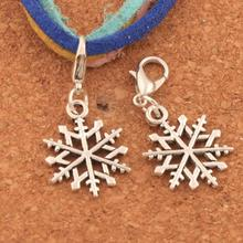 Slim Hollow Snowflake Lobster Claw Clasp Charm Beads 15.5x33.5mm 100PCS Tibetan silver Jewelry DIY C790 triangular arrow lobster claw clasp charm beads 24 4x4 6mm 200pcs tibetan silver jewelry diy c462