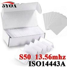 1000 개/몫 rfid 카드 13.56 mhz mf s50 근접 ic 스마트 카드 태그 0.8mm 얇은 액세스 제어 시스템 iso14443a