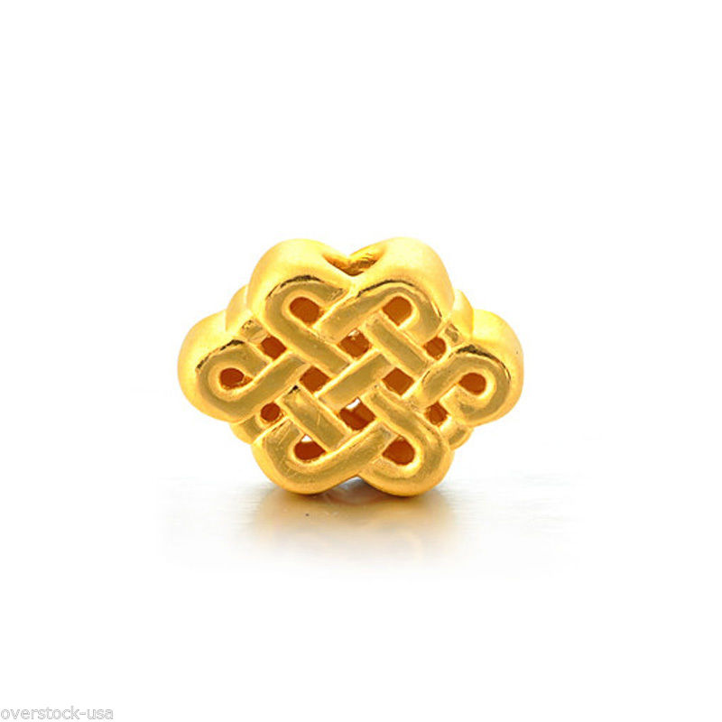 New 24K Yellow Gold Pendant / 3D Craft Lovely Chinese Knot Bead PendantNew 24K Yellow Gold Pendant / 3D Craft Lovely Chinese Knot Bead Pendant