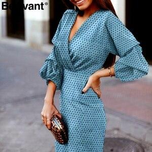 Image 3 - BeAvant Elegant polka dot dress women V neck lantern sleeve female party dresses Vintage high waist ladies midi dresses vestidos