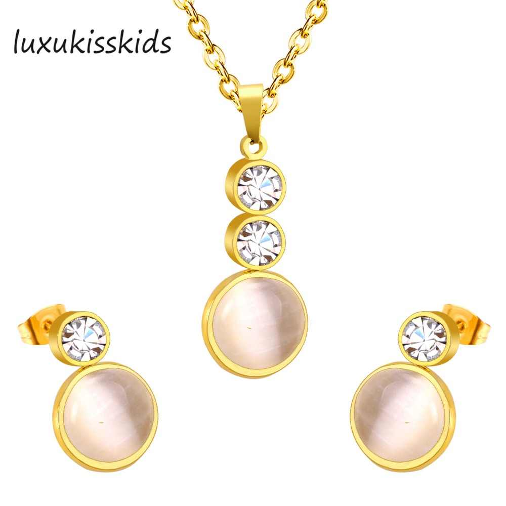 LUXUKISSKIDSOne set gold/silver color necklace earrings with round luxury crystal for elegant stainless steel women jewelry sets