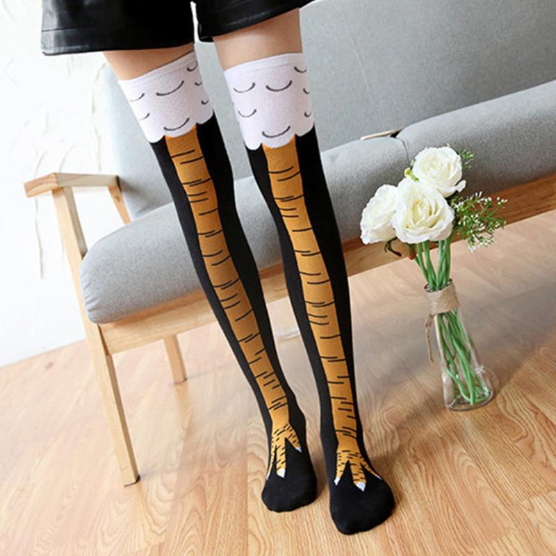1 Pair  Fashion Creative Women Chicken Socks With Chicken Print Toe Women 3D Cartoon Thigh Chicken Toe Feet Socks