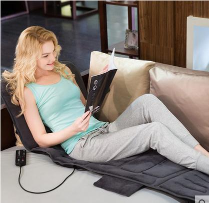 Electric Vibrator Heating Back Neck Massager Mattress Waist Cushion Mat Home Office Relax Bed Pain Relief