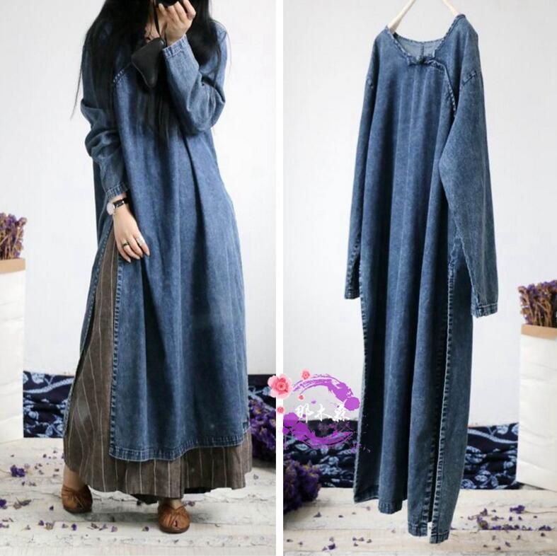 Autumn Blue 2018 Dresses Sleeve Solid Denim Maxi Split Np206 Side Loose Dress Robe Color Vintage Soft Women Long nqTIFI