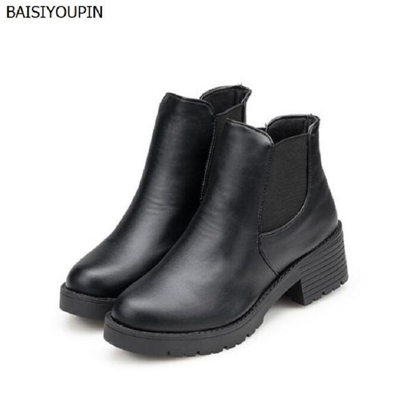 2017 New European Hot Head Low Barrel Boots with Thick Martin Boots with Fashion Exquisite Single Spring Boots Womens Shoes