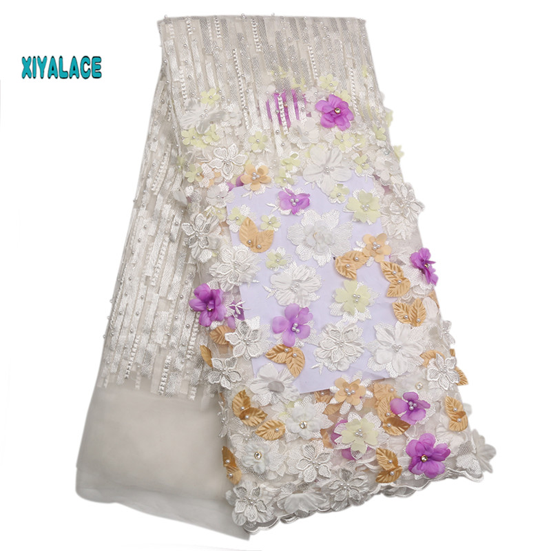 African Lace Fabric 2019 High Quality Lace 3D Flowers Tullle Lace Fabric French Beads Lace Fabric For Party Beads YA2166B-2