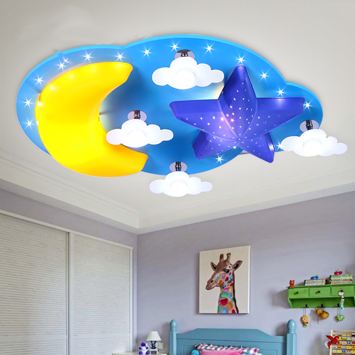 US $97.25 18% OFF|LED children\'s room bedroom ceiling lamp personality  minimalist lamp cartoon star moon baby boy girl room ceiling light-in  Ceiling ...