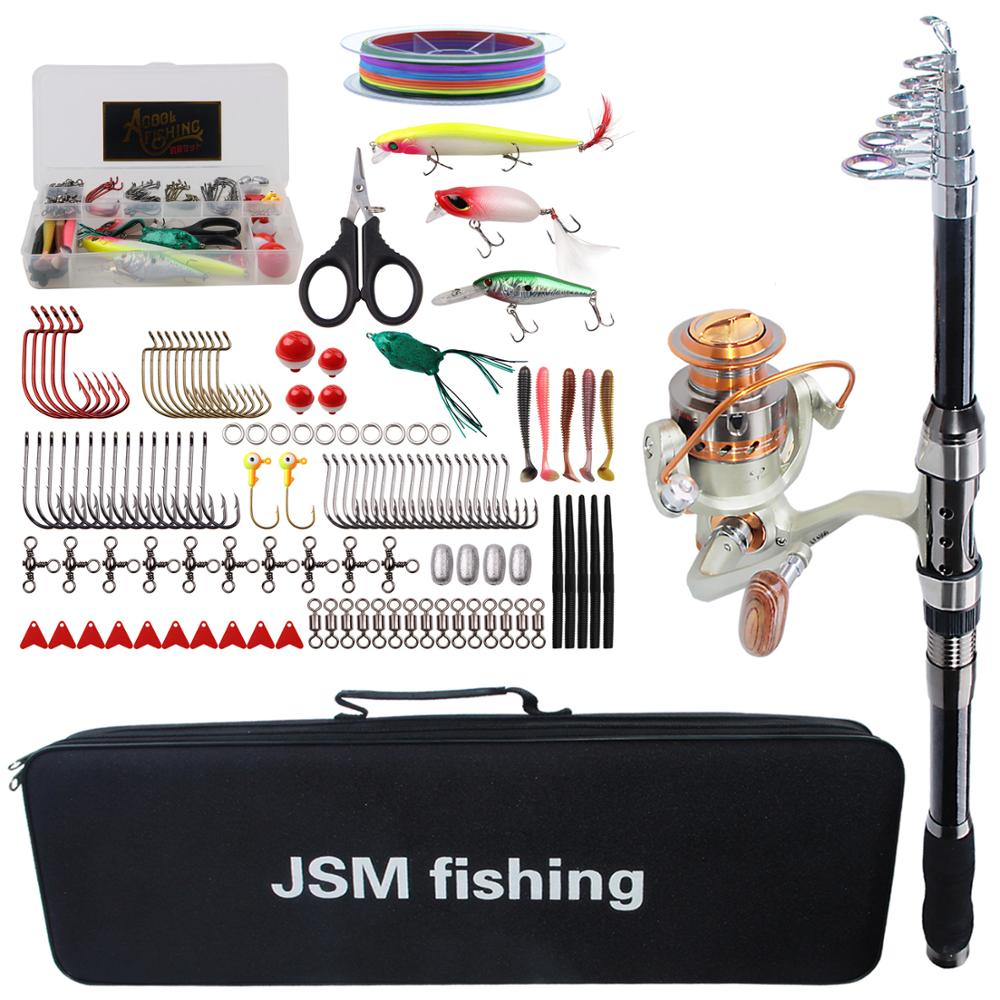 Spinning Fishing Rod Combo tools Kit Spinning Telescopic Fishing Rod Reel Set with Line Lures Hooks Fishing Bag tools(China)