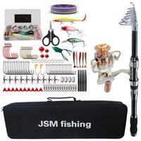 Spinning Fishing Rod Combo tools Kit Spinning Telescopic Fishing Rod Reel Set with Line Lures Hooks Fishing Bag tools