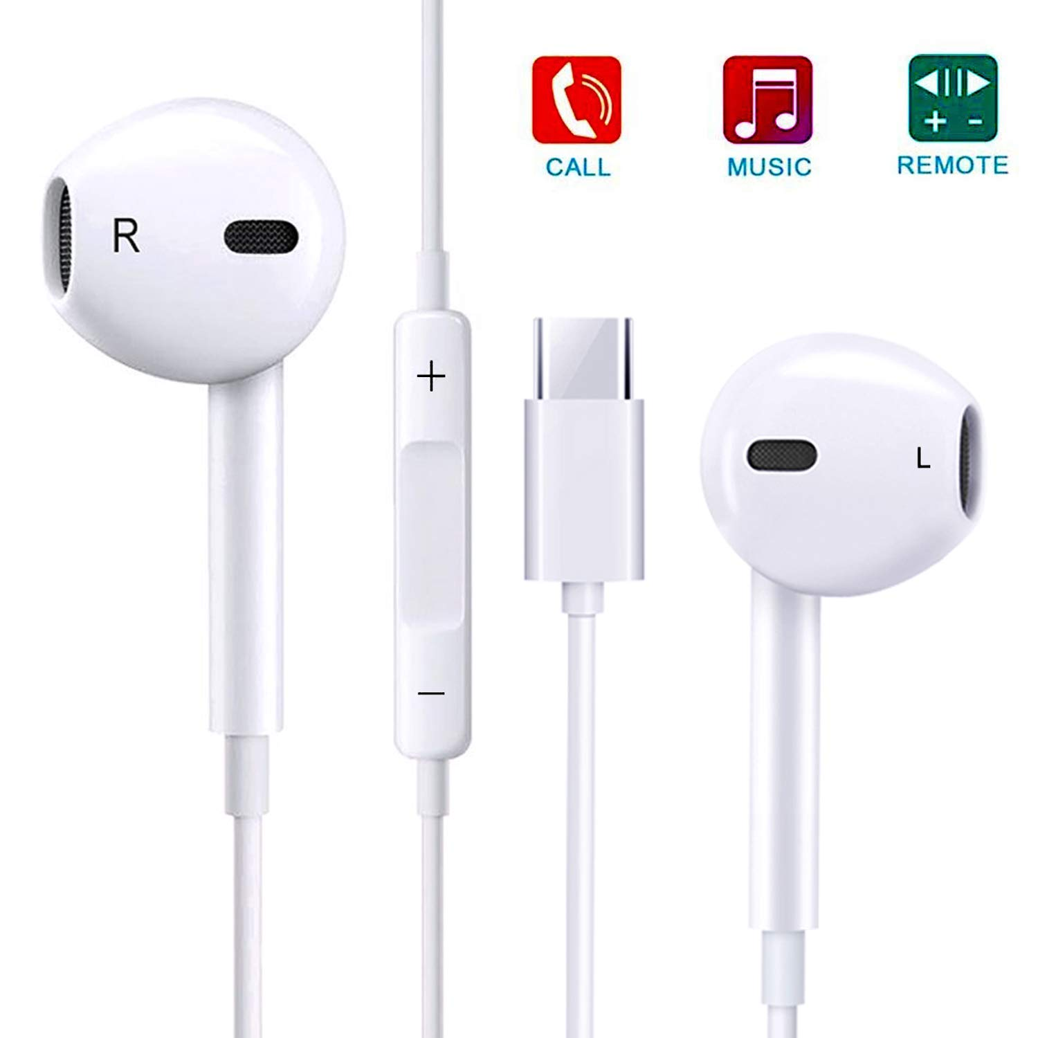 Type-<font><b>C</b></font> Headphone Microphone, <font><b>USB</b></font>-<font><b>C</b></font> Earbud Mic, Stereo Headset Noise Cancelling for Huawei <font><b>Samsung</b></font> Google LG Sony Headphones image