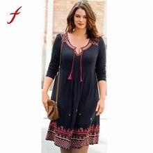 Fashion Dress Women Embroidery Plus Size Dresses Cotton Sexy Retro Long  Sleeve Strap Dress Women vestidos 3b4e6d58b6b3