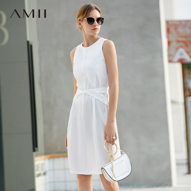 Amii Women Minimalist Dress 2018 Solid A Line Sleeveless O Neck Female Dresses