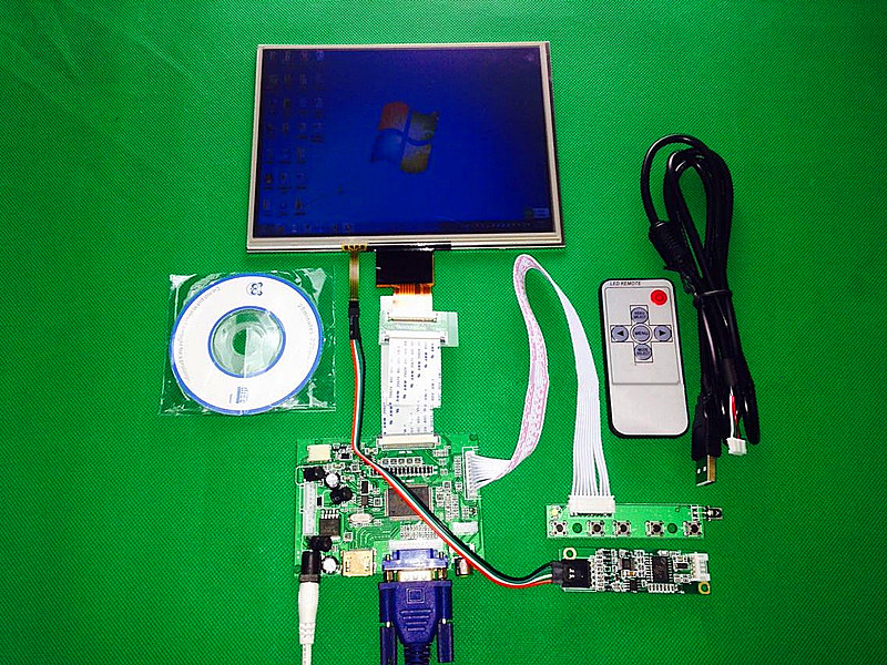 HDMI/VGA/AV Control Driver Board +Touchscreen + 8inch HE080IA-01D 1024*768 IPS high-definition LCD Display For Raspberry Pi