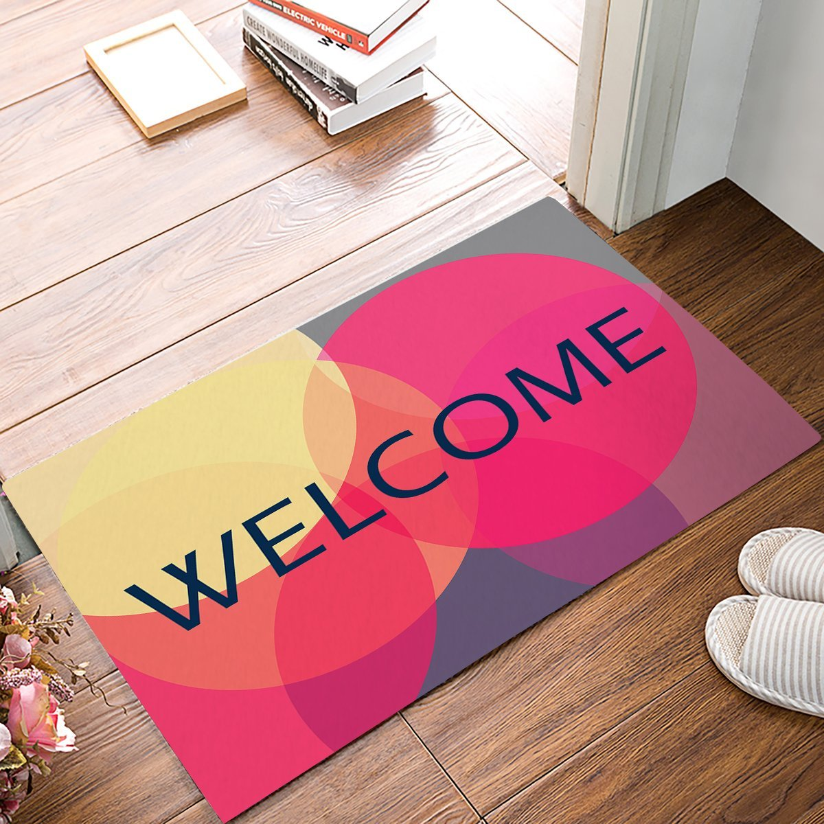 Neon Light Color Blocked Circular Geometric Welcome Door Mats Kitchen Floor Bath Entrance Rug Mat Rubber Non Slip