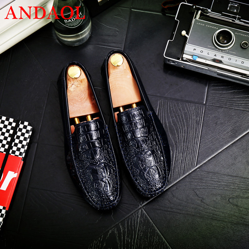 ANDAOL Men 39 s Bright Leather Casual Shoes Fashion Soft Leather Non Slip Designer Light Loafers Luxury Wedding Party Dress Shoes in Men 39 s Casual Shoes from Shoes