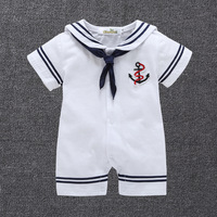 Navy Sailor Suit Baby Boy Short Rompers Cool Baby Navy Beret Cap Fashion 100 Cotton Infant