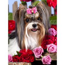 Megayouput Aniaml Diy diamond painting cross stitch kits  embroidery Lovely dog and roses Mosaic pattern home decor gift