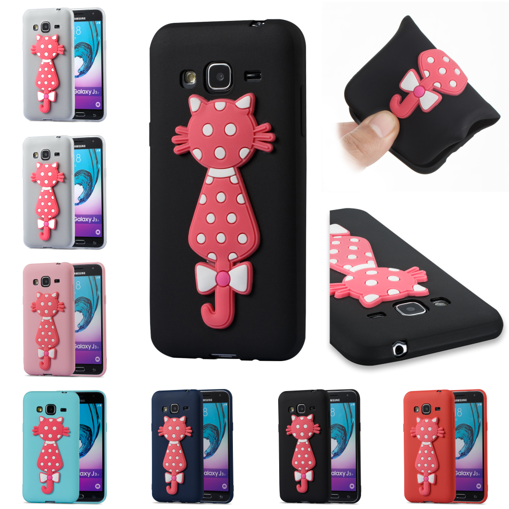 Cute 3D Cat Cartoon Silicone TPU Phone Case Kryty Shell Bag For Samsung Sumsung Samsug Galaxy J3 2016 J 310