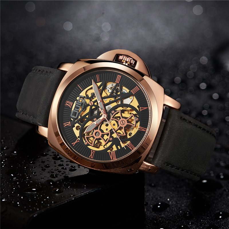 Oulm Mechanical Watches Automatic Self-Wind Watch Male Genuine Leather Strap Watches Men Casual Business Wristwatch ClockOulm Mechanical Watches Automatic Self-Wind Watch Male Genuine Leather Strap Watches Men Casual Business Wristwatch Clock