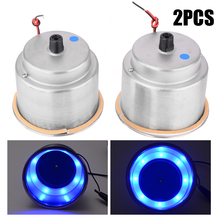Treyues High Quality 2pcs Blue 8LED Recessed Stainless Steel Cup Drink Holder for Car Marine Boat