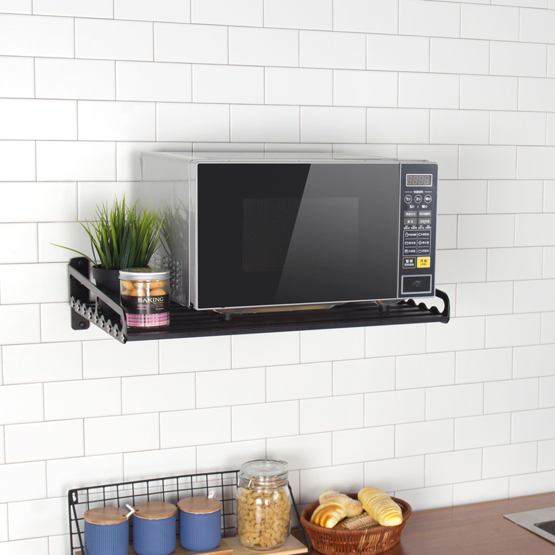 Держатели для хранения микроволновой печи, стеллажи, держатель для кухонной полки, черная алюминиевая настенная полка, шкаф органайзер для кухни, аксессуары